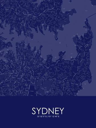 Sydney, Australia Blue Map