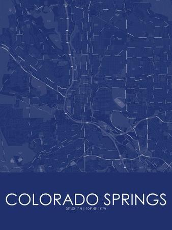 Colorado Springs, United States of America Blue Map Prints at ...