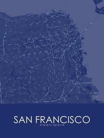 San Francisco, United States of America Blue Map