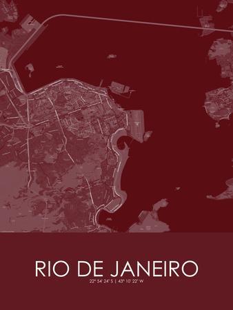 Rio de Janeiro, Brazil Red Map