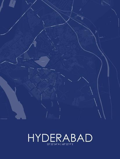 Hyderabad, Pakistan Blue Map Posters at AllPosters com