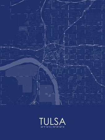 Tulsa United States Of America Blue Map Posters At Allposterscom - Tulsa-on-us-map
