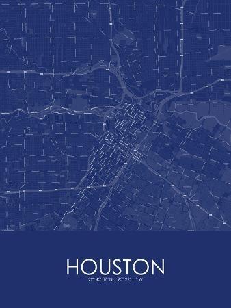 Houston, United States of America Blue Map