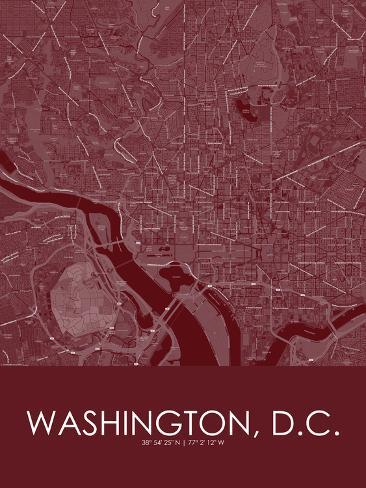 Map Of United States Washington Dc.Washington D C United States Of America Red Map Posters At