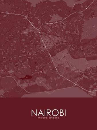 Nairobi, Kenya Red Map