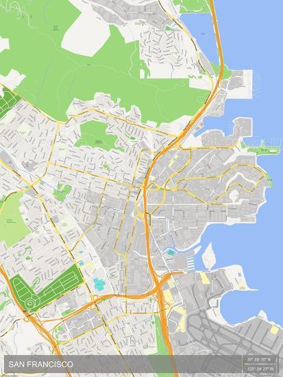 South San Francisco United States Of America Map Prints At - San-francisco-us-map