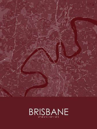 Brisbane, Australia Red Map