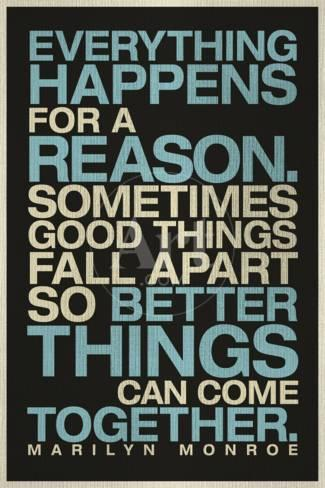 Everything Happens For A Reason Marilyn Monroe Quote Poster At