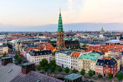 Copenhagen Skyline by Evening. Denmark Capital City Streets and Danish House Roofs. Copenhagen Old