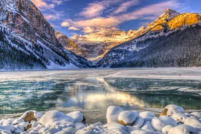 Winter Sunrise over Scenic Lake Louse in Banff National Park, Alberta Canada