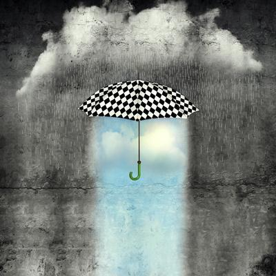 A Surreal Image of an Umbrella Checkered Black and White, Where below it There is Good Weather and