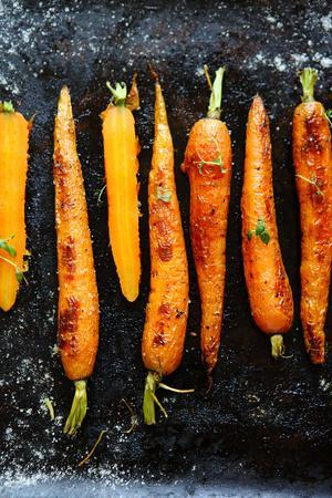 Roasted Carrots with Spices on a Baking Tray, Food