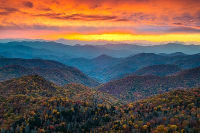 North Carolina Blue Ridge Parkway Mountains Sunset Scenic Landscape near Asheville, NC during the A