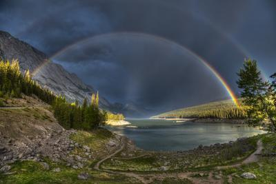Beautiful Double Rainbow over Scenic Medicine Lake, Jasper National Park in the Canadian Rocky Moun