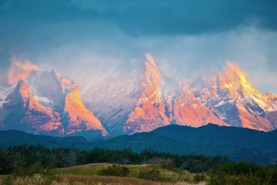 National Park Torres Del Paine in Southern Chile. Sunrise on a Windy Day