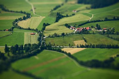 Small Bavarian Village in a Fields, Germany. Pseudo Tilt Shift Effect