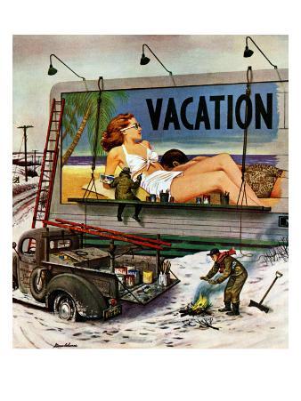 """""""Billboard Painters in Winter,"""" February 14, 1948"""