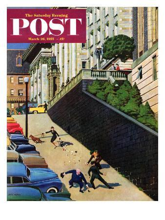 """""""Spilled Purse on Steep Hill"""" Saturday Evening Post Cover, March 26, 1955"""
