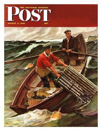 """""""Lobstermen,"""" Saturday Evening Post Cover, March 9, 1946"""