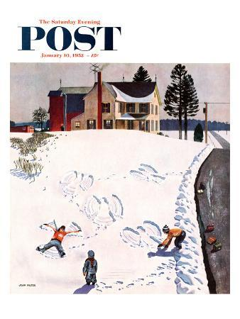 """""""Snow Angels"""" Saturday Evening Post Cover, January 10, 1953"""