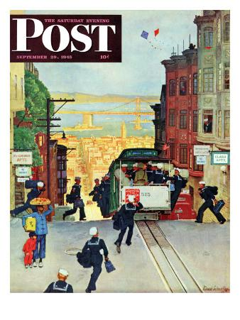 """""""San Francisco Cable Car,"""" Saturday Evening Post Cover, September 29, 1945"""