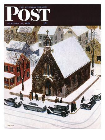 """Snowy Morning at Church"" Saturday Evening Post Cover, January 6, 1951"