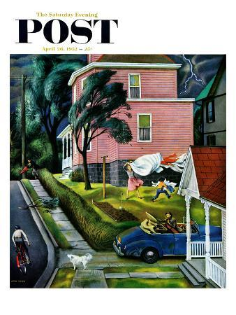 """""""Spring Storm Blowing In"""" Saturday Evening Post Cover, April 26, 1952"""
