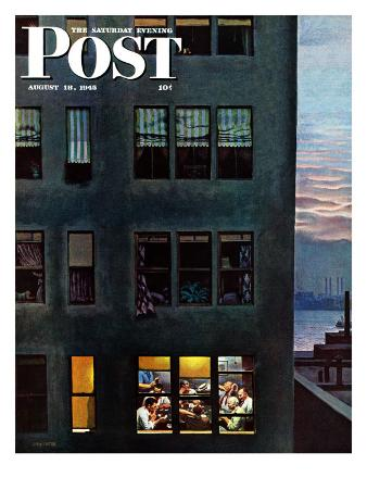 """""""Office Poker Party,"""" Saturday Evening Post Cover, August 18, 1945"""