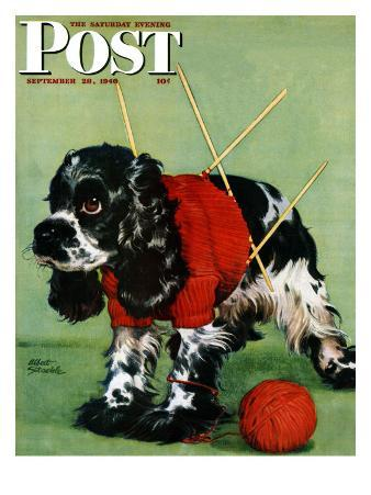 """Butch and Knitted Sweater,"" Saturday Evening Post Cover, September 28, 1946"