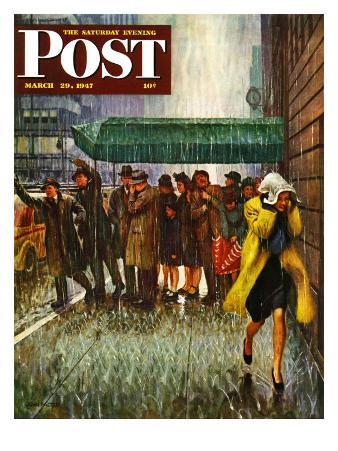 """""""Rainy Wait for a Cab,"""" Saturday Evening Post Cover, March 29, 1947"""