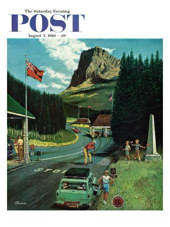 """U.S./Canadian Border at Waterton-Glacier,"" Saturday Evening Post Cover, August 5, 1961"