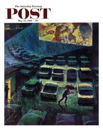 """Drive-In Movie in the Rain,"" Saturday Evening Post Cover, May 13, 1961"