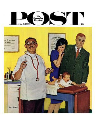 """Baby's First Shot,"" Saturday Evening Post Cover, March 3, 1962"