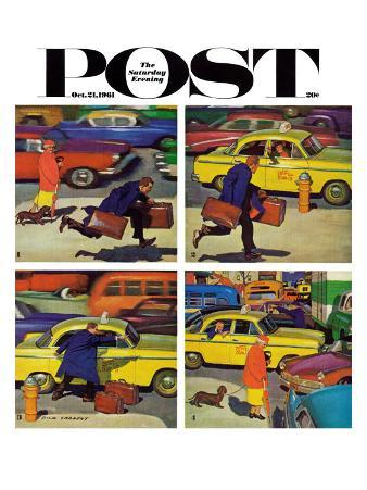 """Rush Hour (4 panel),"" Saturday Evening Post Cover, October 21, 1961"