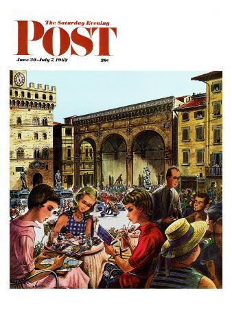 """Writing Postcards Home,"" Saturday Evening Post Cover, June 30, 1962"