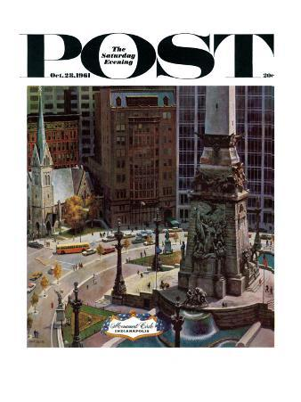 """""""Monument Circle,"""" Saturday Evening Post Cover, October 28, 1961"""