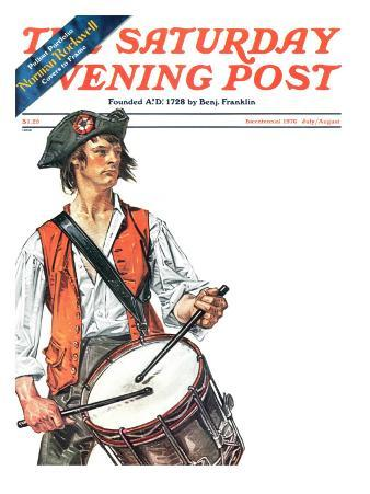 """""""Re-print of """"Colonial Drummer"""","""" Saturday Evening Post Cover, July/Aug 1976"""