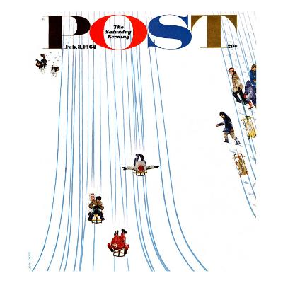 """""""Sledding Designs in the Snow,"""" Saturday Evening Post Cover, February 3, 1962"""