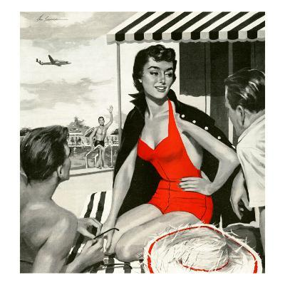 """Red Hot Woman  - Saturday Evening Post """"Leading Ladies"""", May 22, 1954 pg.83"""
