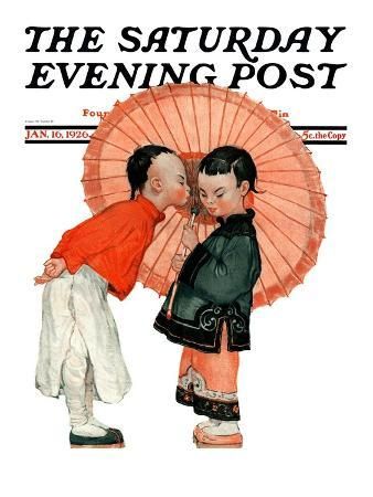 """""""Japanese Kiss,"""" Saturday Evening Post Cover, January 16, 1926"""