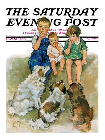 """Doggie Beggars,"" Saturday Evening Post Cover, May 31, 1930"