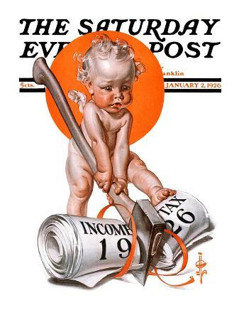 """""""No New Taxes,"""" Saturday Evening Post Cover, January 2, 1926"""