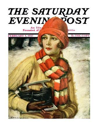 """""""Woman with Ice Skates,"""" Saturday Evening Post Cover, February 5, 1927"""