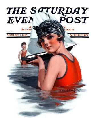 """""""Toy Sailboat,"""" Saturday Evening Post Cover, August 1, 1925"""