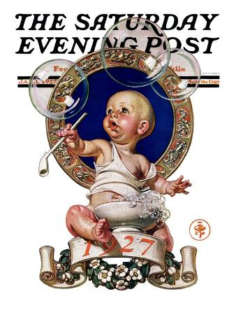 """""""Blowing Bubbles,"""" Saturday Evening Post Cover, January 1, 1927"""