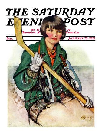 """Girl Hockey Player,"" Saturday Evening Post Cover, January 22, 1927"
