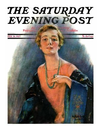 """""""Woman Wearing Beaded Necklace,"""" Saturday Evening Post Cover, February 26, 1927"""