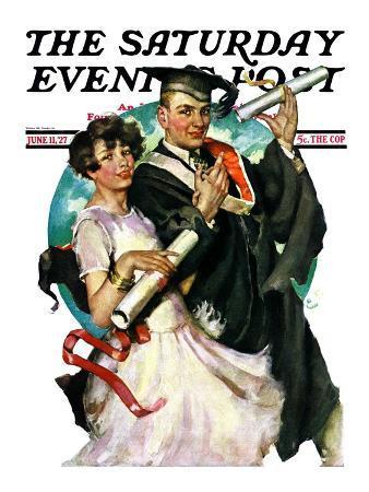 """Graduating Couple,"" Saturday Evening Post Cover, June 11, 1927"