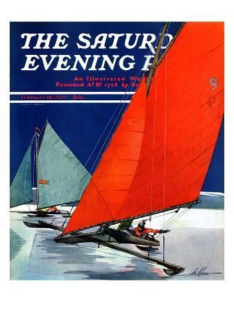 """""""Iceboats Racing,"""" Saturday Evening Post Cover, February 18, 1939"""