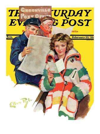 """Reading Her Mail,"" Saturday Evening Post Cover, February 22, 1936"